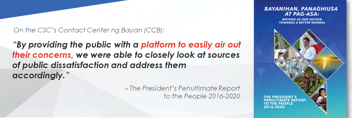 Contact Center ng Bayan on President's Report