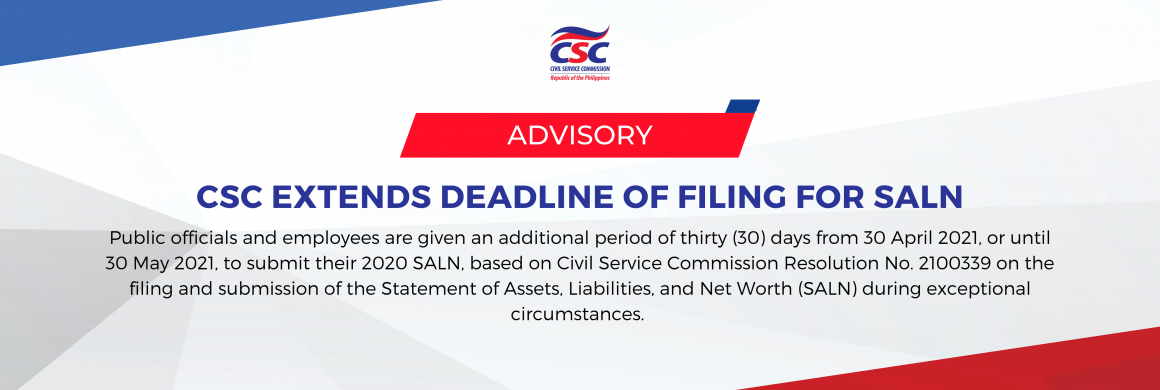 Advisory on Extension of Filing and Submission of 2020 SALN