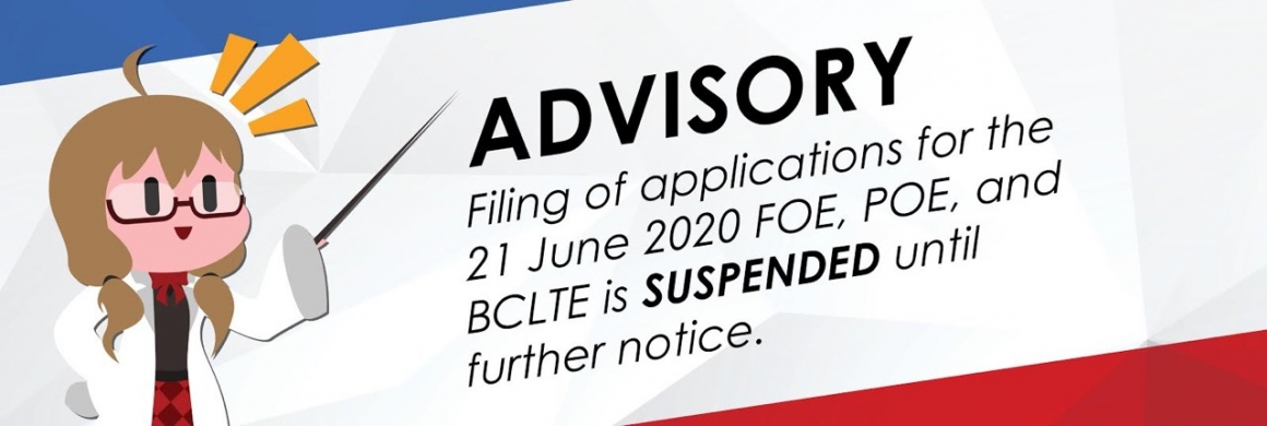 FOE, POE, BCLTE application suspended